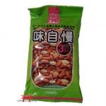Salgadinhos de arroz saborizado e amendoim
