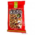 Salgadinhos de arroz saborizado, amendoim e peixe